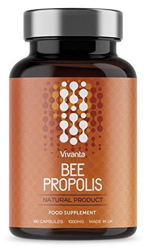Bienen Propolis - 1000mg Propolis x 180 Kapseln | 6 Monate Vorrat | Höchste Qualität Propolis | Reiche Quelle von Bioflavonoiden | gemahlenem rohpropolis gewonnen - Health Propolis