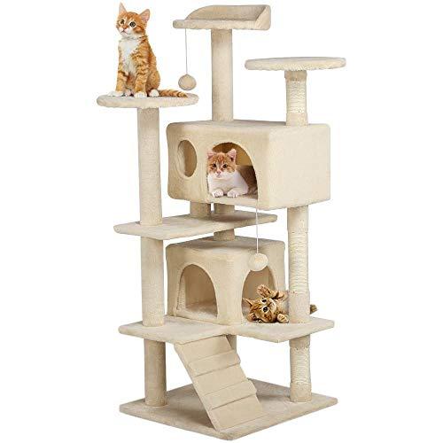 Yahee Kratzbaum Katzenbaum Katzenkratzbaum Kletterbaum Spielplatz 130 cm für Katzen in 3 Farben