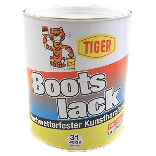 Tiger Bootslack Hochwetterfester Kunstharzlack Hochglänzend lösemittelhaltig 1 kg Farbwahl, Farbe (RAL):RAL 9010 Reinweiß