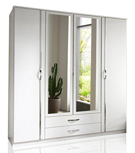 Wimex Kleiderschrank/ Drehtürenschrank Duo, 4 Türen, 2 Schubladen, 2 Spiegel, (B/H/T) 180 x 198 x 58 cm, Weiß