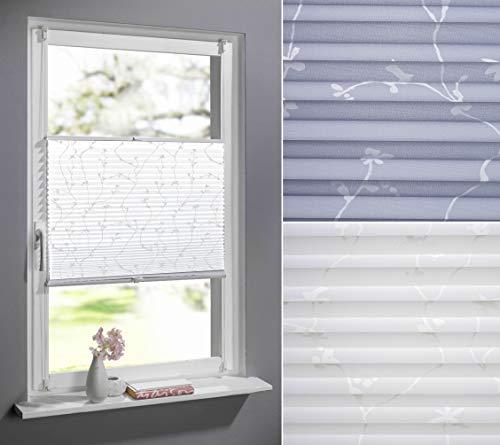 DECOLIA Klemmfix-Plissee verspannt, ohne Bohren oder Schrauben mit floralem Druckdesign, Breite/Höhe: 90 x 210 cm, Farbe: weiß