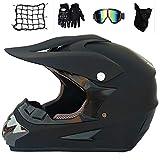 MRDEAR Fullface Motocross Helm mit Brille Handschuhe Maske Motorrad Netz, Adult Motorradhelm Cross Helme Mountainbike Off Road MTB Cross-Country-Helm ATV für Herren Damen, Matt Schwarz,M