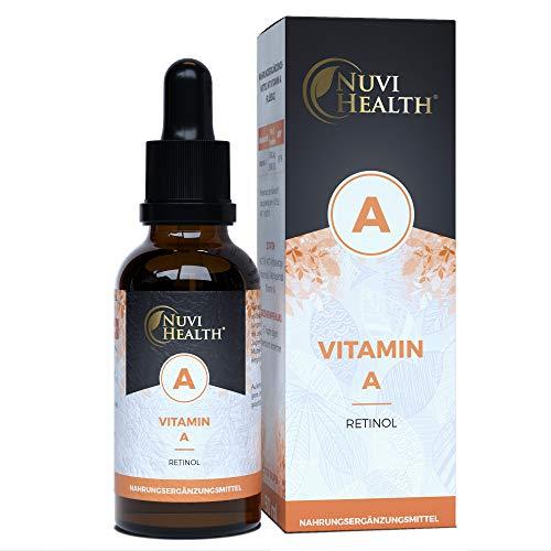Nuvi Health Vitamin A Tropfen - 5000 I.E (1500 µg) pro Tag - 1700 Tropfen = 50 ML - Hochdosiertes Retinol - Vegan - MCT-Öl aus Kokos - Vitamin A Flüssig Liquid - Hohe Bioverfügbarkeit