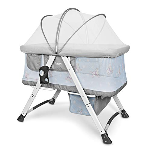 Besrey Stubenwagen Set Reisebett Babywiege für Baby Kinder mit Schaukelfunktion Matratze Moskitonetz faltbar zusammenklappbar- grau