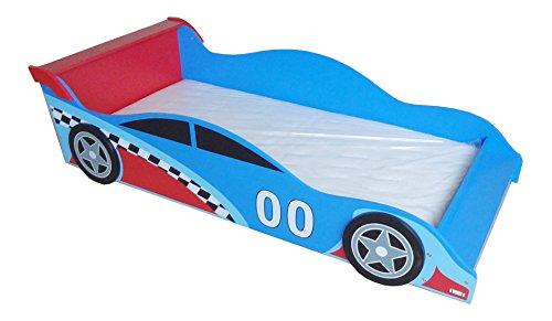 Kiddi Style Autobett & Rennwagenbett in Blau / Rot – Kinderbett & Spielbett für Jungen – Jugendbett & Rennautobett – 140 cm x 70 cm