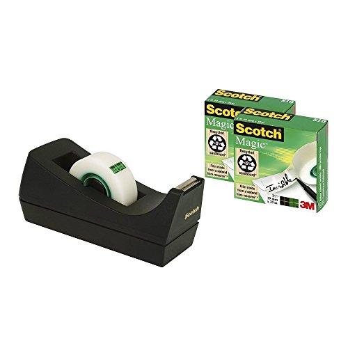 Scotch Tischabroller schwarz / Klebebandabroller inkl. 3 Rollen Scotch Magic transparentes Klebeband (19 mm x 33 m) / Funktional & benutzerfreundlich
