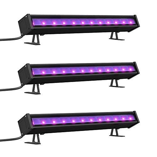 Onforu 3er Pack 24W Schwarzlicht UV LED Bar mit EU-Stecker | Black Light Lichteffekt Partylicht Bühnenbeleuchtung mit Schalter | Geeignet für Weihnachten Halloween Club Party Karneval Disco Ballsaal