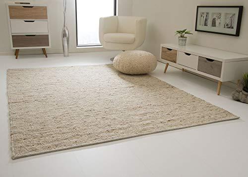 Landshut Handweb Teppich aus 100% Schurwolle - natur, Größe: 200x240 cm