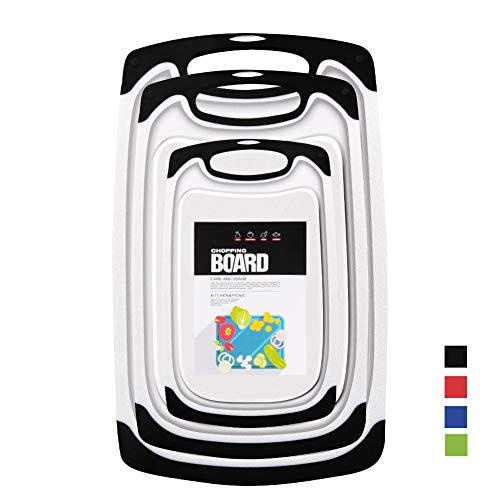 Set 3-teilig Innovatives Schneidebrett,Kunststoff-Schneidebretter, Küchen-Schneidebretter, größere Schneidematte, wendbar, leicht, kein BPA, spülmaschinenfest. (Black)