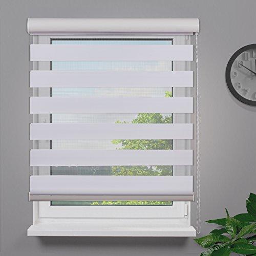 Fensterdecor Duo-Rollo Doppelrollo mit Aluminiumkassette / Weiß 140 x 180 (BxH)