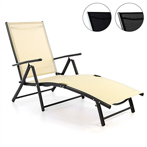 Nexos Gartenliege Sonnenliege Liegestuhl Klappliege – für Terrasse Balkon – klappbarer Gartenstuhl aus Alu & Stahl & Textilene - Creme Anthrazit