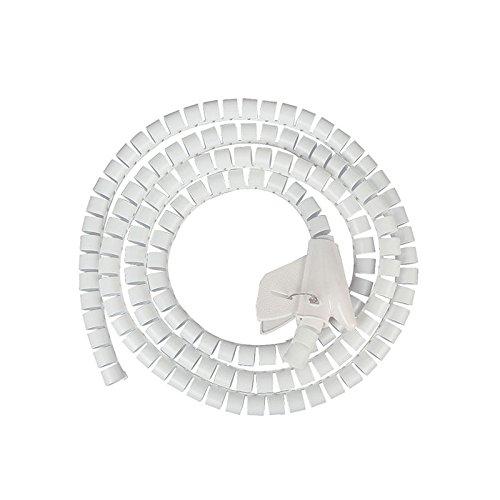 JZK 2,5cm x 1,5 Meter, flexible Kabel Spiralschlauch Ordentlich Drähte spiral Wrap Veranstalter Kabelschlauch Kabelkanal Kabelorganisation (weiß)
