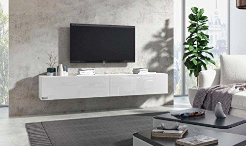 Wuun TV Board hängend/8 Größen/5 Farben/140cm Matt Weiß- Weiß-Hochglanz/Lowboard Hängeschrank Hängeboard Wohnwand/Hochglanz & Naturtöne/Somero