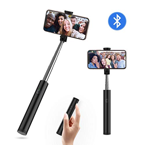 Yoozon Bluetooth Selfiestick mit integrierter Fernauslöser aus Edelstahl,All in EIN Mini Selfie Stick kabellos Selfie Stange Stab tragbar Monopod für alle 3.5-6.5' iPhone Android Smartphones