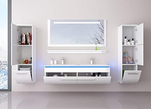Badmöbel Set Weiß 120 cm mit 2 Hängeschränken Waschbecken Spiegel und Ablage Vormontiert Badezimmermöbel Doppelwaschbecken LED Hochglanz lackiert Homeline1