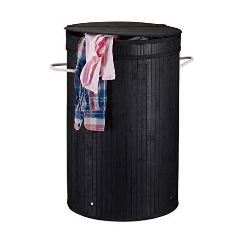 Relaxdays Wäschekorb mit Deckel, runder Wäschesammler, Wäschesack, f. Schmutzwäsche, 65 Liter, Wäschetonne XXL, schwarz, Standard
