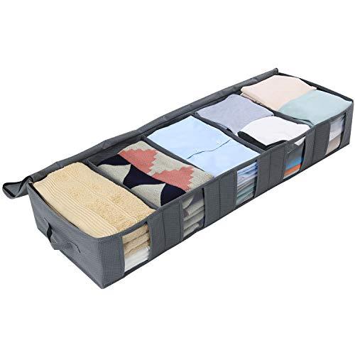Lifewit Aufbewahrungstasche Unterbett Schuhaufbewahrung Lagerung für Schuhe Kleidung Schals Handtücher aus Dicker Vliesstoff mit Sichtfenster Reißverschluss