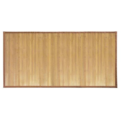 iDesign Fußmatte rutschfest, großer Duschvorleger aus Bambus, wasserabweisender Läufer für Badezimmer und Toilette, hellbraun