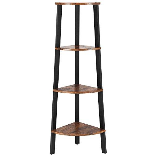 SONGMICS Eckregal, Standregal, Bücherregal, Lagerregal, einfache Montage, Stabiles Metall für den Rahmen, 4 Ebenen für Zuhause, Wohnzimmer, Schlafzimmer, Balkon, vintage, LLS34X