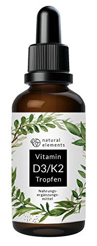 Vitamin D3 + K2 Tropfen - 50ml - Einführungspreis - 99,7+% All-Trans K2 und hoch bioverfügbares D3 - Gelöst in MCT-Öl aus Kokos - Hochdosiert und hergestellt in Deutschland