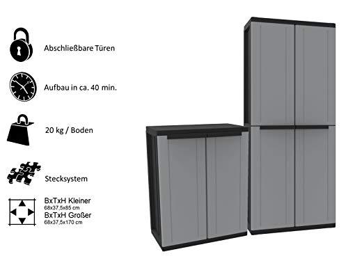 Kreher Kunststoffschrank Set: Universalschrank und Beistellschrank. Maße Universalschrank BxTxH ca. 68 x 37,5 x 170 cm. Maße Beistellschrank BxTxH ca. 68 x 37,5 x 85 cm
