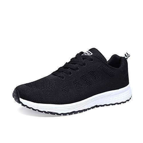 Orktree Damen Sneaker Fitness Laufschuhe Sportschuhe Schnüren Running Schuhe Herren Ultra-Light Turnschuhe, Schwarz, 40 EU