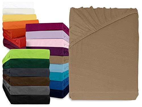 klassisches Jersey Spannbetttuch - erhältlich in 22 modernen Farben und 6 verschiedenen Größen - 100% Baumwolle…