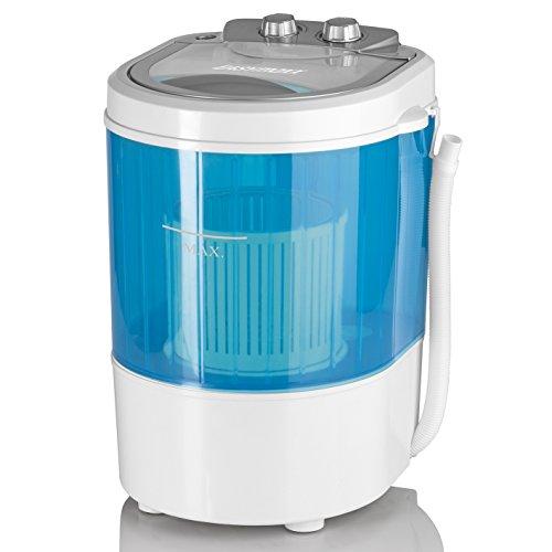 CLEANmaxx 07475 EASYmaxx Mini-Waschmaschine, Toplader mit Schleuder Campingwaschmaschine Waschautomat für unterwegs, 3 Kg, 260 W, Blau/weiß