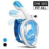 Supertrip Schnorchel Maske Unisex Vollgesichts-Schnorchel-Maske für Erwachsene Junge mit Abnehmbarer Kamerahalterung 180 ° Panoramablick Tauchmaske Anti-Fog Blau