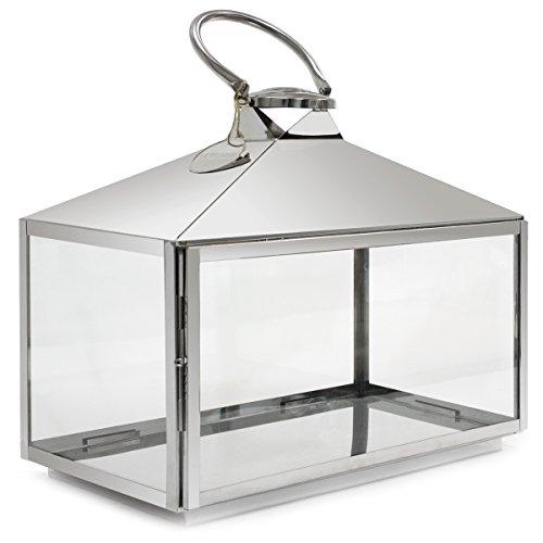 Dekovita Luxus Edelstahl-Laterne mit Edelstahlgriff Gartenlaterne Mini Gewächshaus L:50xB27xH55cm mit Glasfenstern Windlicht Kerzen