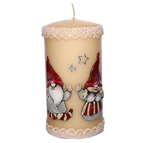 Stumpenkerze Weihnachten 'Weihnachtswichtel' Handarbeit Ø 7 cm, 14 cm Dekokerzen Kerzen Adventskerzen Weihnachtskerzen Stumpenkerzen hochwertig handmade handgefertigt (elfenbein)