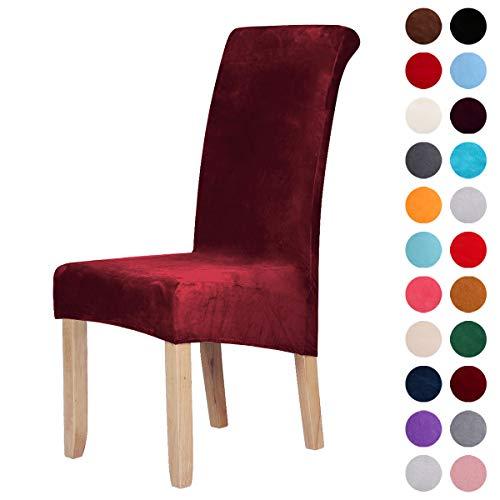 Homaxy Velvet Stretch Esszimmerstuhl Hussen - Spandex Plüsch Stuhlhussen Solide Großes Esszimmer Stuhl Protector Home Decor Set 2, Weinrot