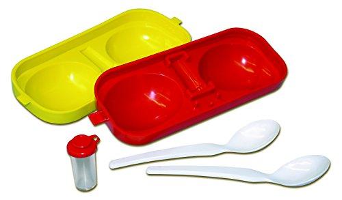 Eierbehälter Eierträger Eierbox 2-fach mit Salzstreuer und Löffel rot/gelb Perfekter Picknick Begleiter DDR Ostalgie