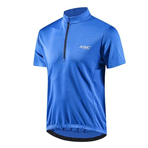 XGC Herren Kurzarm Radtrikot Fahrradtrikot Fahrradbekleidung für Männer mit Elastische Atmungsaktive Schnell Trocknen Stoff 1-2er Packung (Blue, L)