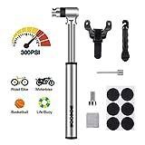 SGODDE Mini Fahrradpumpe, 300 PSI Rahmen Pumpe, Hoher Druck Fahrradluftpumpe, für Presta & Schrader, leicht, mit kompakt zuverlässig Ventile, für MTB BMX Rennrad Mountainbike Ballpumpe Fahrrad Pumpe