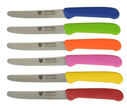 GRÄWE Tafelmesser 6 Stück, Messerset zum Schneiden, 6er Pack Brötchenmesser, Frühstücksmesser mit einseitigem Wellenschliff, Messer 21 cm