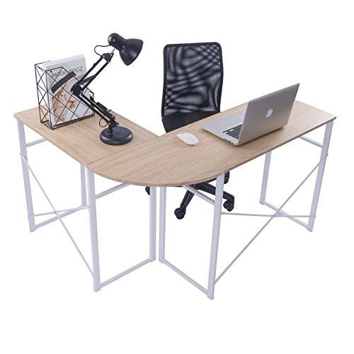 WOLTU Schreibtisch TSG24hei L-Form Eckschreibtisch Winkelschreibtisch Computertisch Bürotisch Arbeitstisch, aus Holz und Stahl, 83x40x72,5 & 63x40x72,5cm(BxTxH), Holz, Eiche