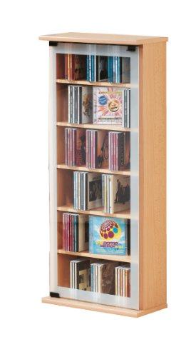 VCM Regal DVD CD Rack Medienregal Medienschrank Aufbewahrung Holzregal Standregal Möbel Schrank Möbel Buche 'Classic'