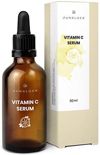 Junglück veganes Vitamin C Serum in Braunglas - Anti-Aging durch Feuchtigkeitspflege für Gesicht & Haut - Kollagen Booster - natürliche Kosmetik made in Germany - 50ml