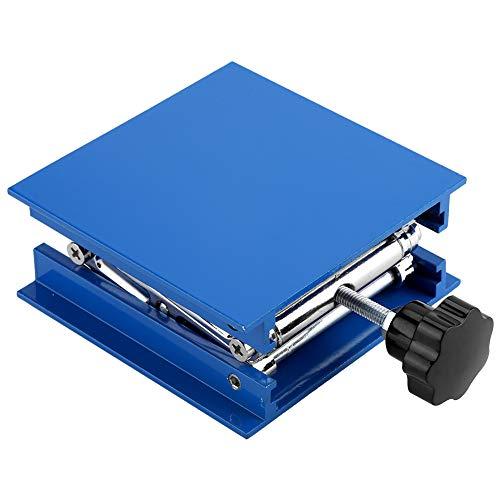 Labor Stehtisch Blau Galvanisiertes Aluminium Labor Hebeplattform Ständer Rack Scissor Jack Lifter 100x100mm