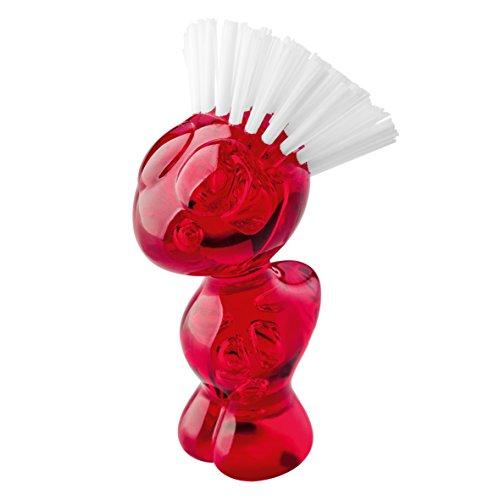 Koziol 5029536 Tweetie Gemüsebürste, Kunststoff, transparent rot, 7 x 6.6 x 12.9 cm