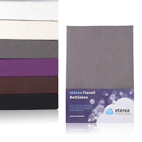 etérea Flanell Biber Bettlaken Betttuch aus 100% Baumwolle - weich und kuschlig auf der Haut - ohne Rundumgummi, 150x250 cm, Anthrazit