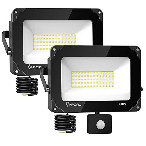 Onforu 2er Pack 60W 6000LM LED Strahler mit Bewegungsmelder | LED Außenstrahler Fluter | 5000K Tageslichtweiß IP66 Wasserfest | Ideale Außenbeleuchtung für Garten, Garage, Hof - Neue Version