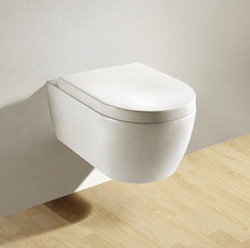 Soho Hänge Wand WC RIMLESS / SPÜLRANDLOS Toilette Brillant Weiss mit Duroplast Soft Close WC-Sitz Nano Beschichtung, compact