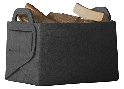 Rubberneck Allzweckkorb aus Filz, Faltbare Aufbewahrungstasche mit Zwei Henkeln, Maße: 36 x 25 x 23 cm (Anthrazit)