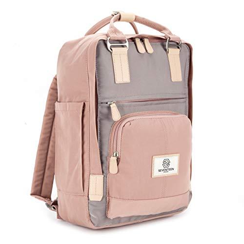 SEVENTEEN LONDON – Moderner, einfacher und Unisex 'Hackney' Rucksack in rosa und grau mit Einem klassischen Design im Skandi-Stil – perfekt für 13-Zoll-Laptops