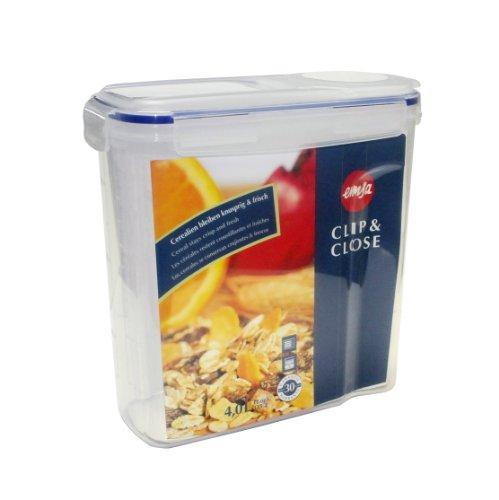 Emsa 507850 Cerealienbox mit Deckel, Volumen 4 Liter, Maße , Transparent/Blau, Clip & Close
