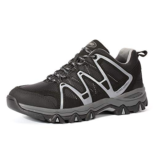 TFO Herren Trekkingschuhe & Wanderschuhe Leichte Outdoor Schuhe mit Atmungsaktive Sohle Schwarz/Grau, 46 EU