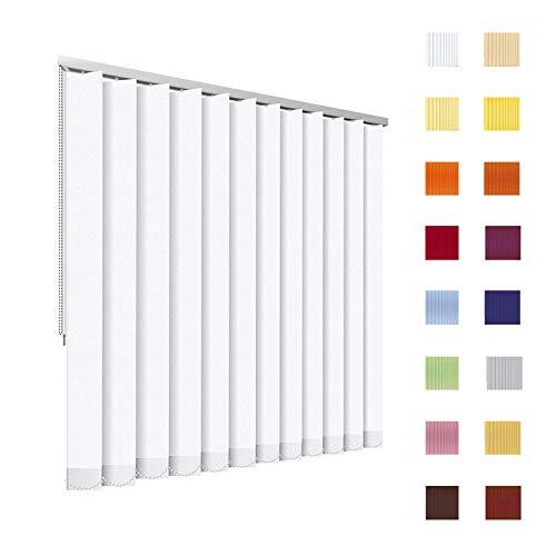 HB-Sonnenschutz Lamellenvorhang, Lamellen, Vertikallamellen, Vertikaljalousie, Komplettset, 127 mm, weiß, Weiss, Schnur/Kette, jedes Maß ist möglich (Breite: 151-200 cm x Höhe: 100-150 cm, weiß)
