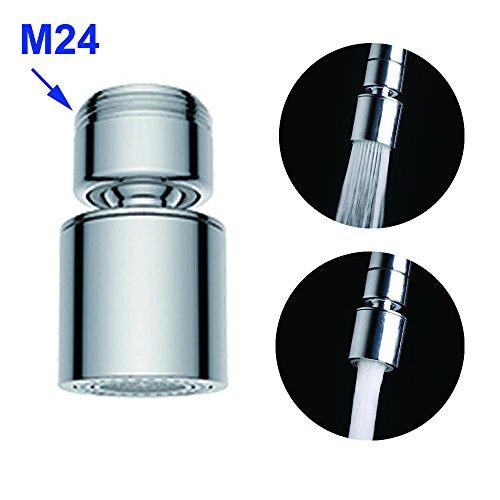 Hibbent 2-Funktionshandbrause 2-flow Wasserhahn Luftsprudler Mit Strahlregler - Wasserhahn-Aufsatz Schwenkbrause mit 360°Schwenkkopf Brausekopf Perlator Wassersparstrahler M24 x 1